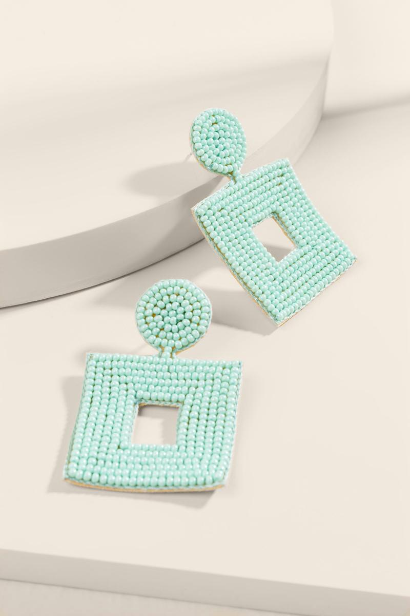 Callie Beaded Statement Earrings- Mint