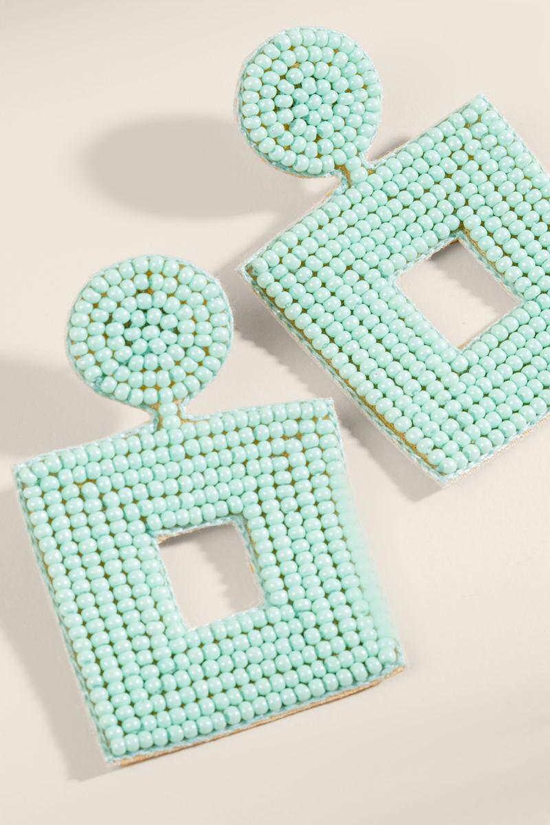 Callie Beaded Statement Earrings- Mint 2