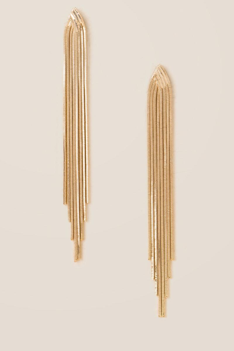 Delphine Chain Fringe Linear Earrings-  gold-cl