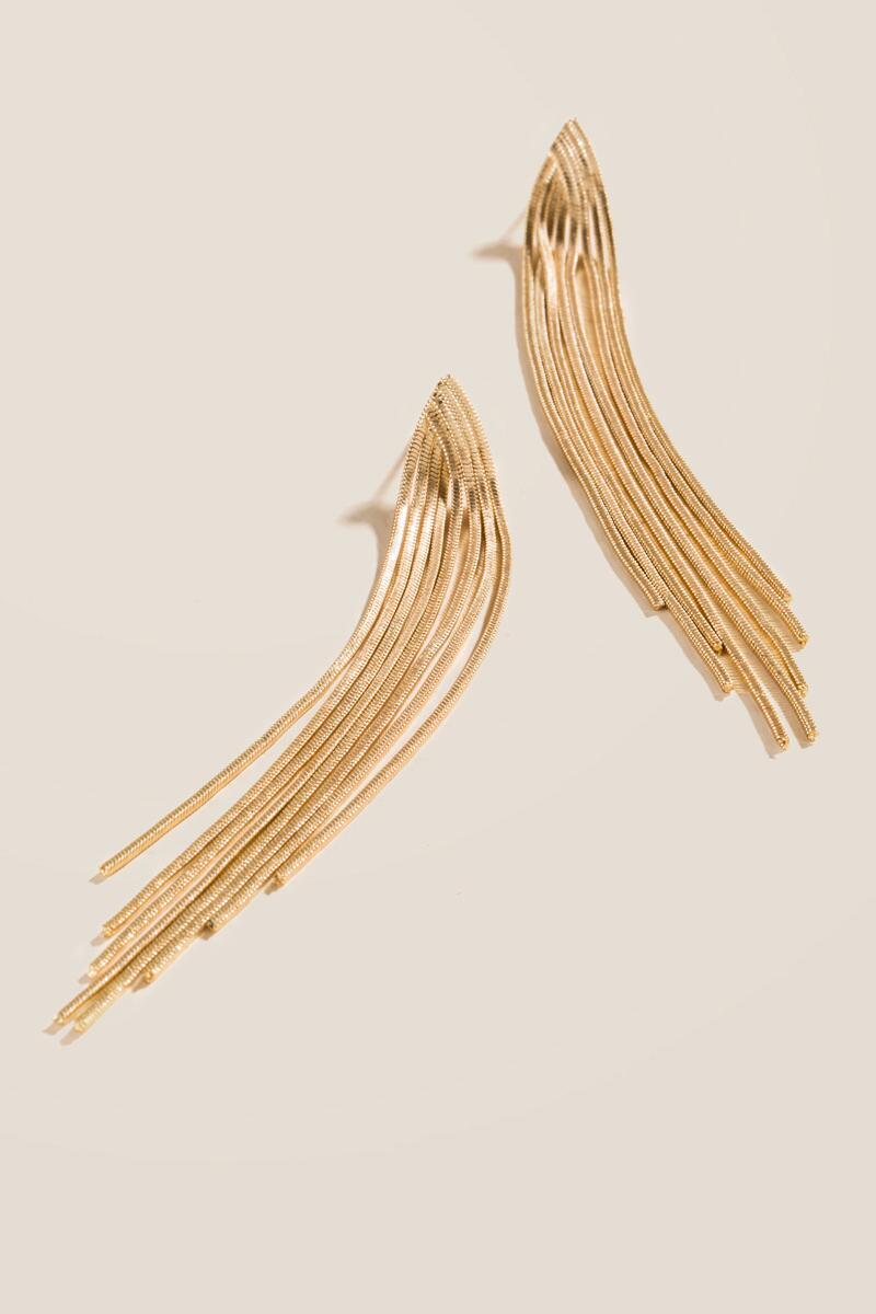 Delphine Chain Fringe Linear Earrings-  gold-clalternate