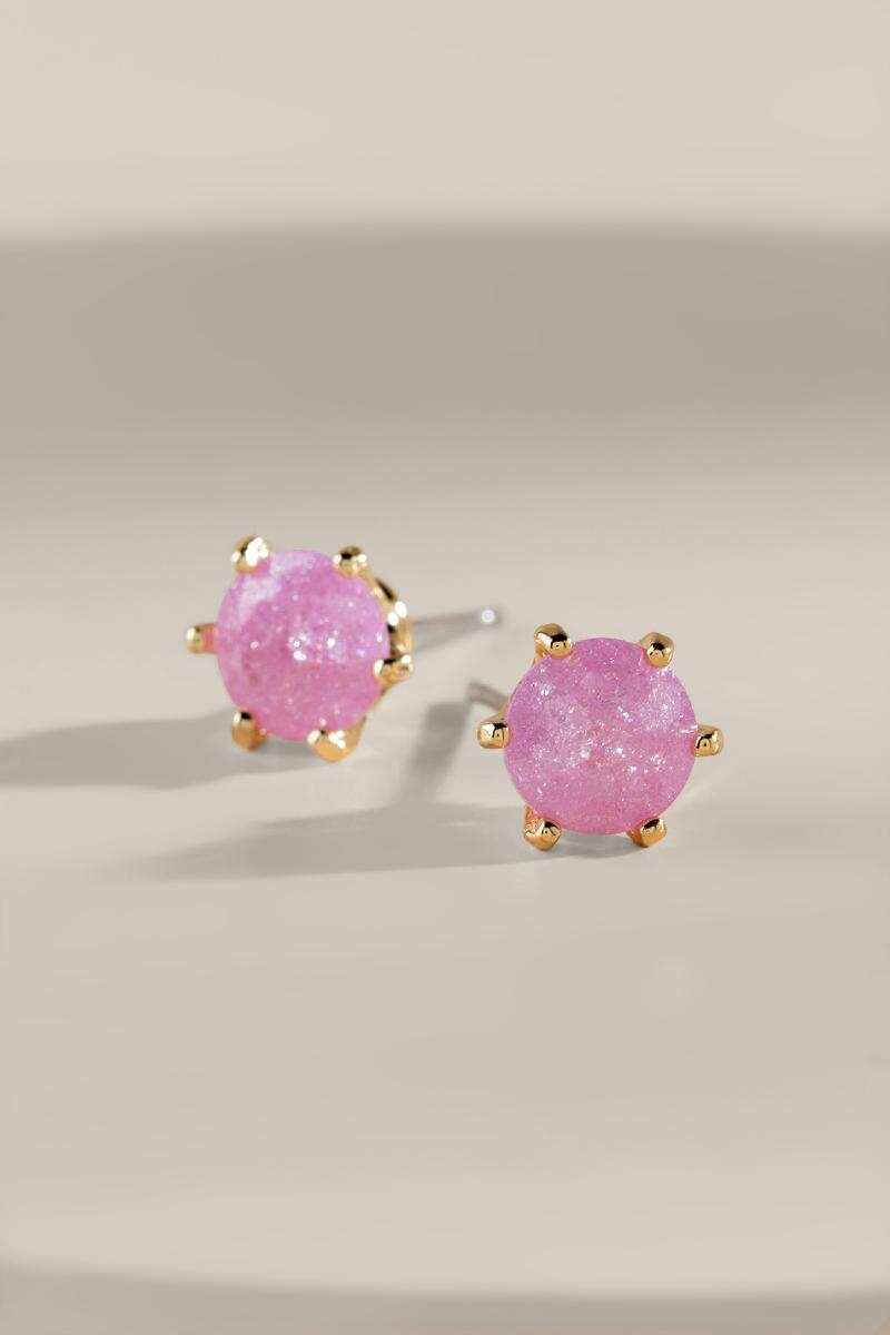 Jane Crackle CZ Stud Earrings- Blush