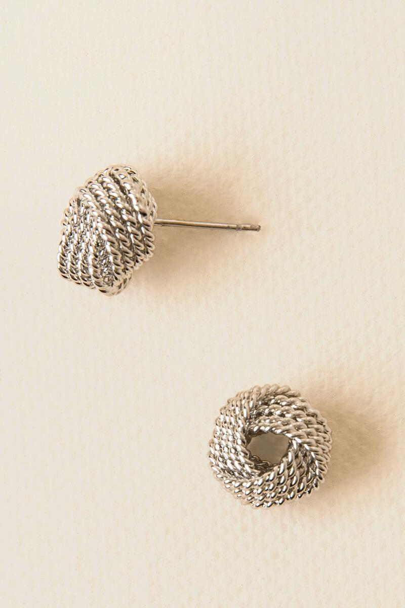 Brittney Chain Texture Knot Studs- Silver