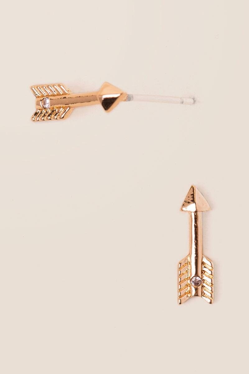 Arrow Stud Earrings-  gold-cl