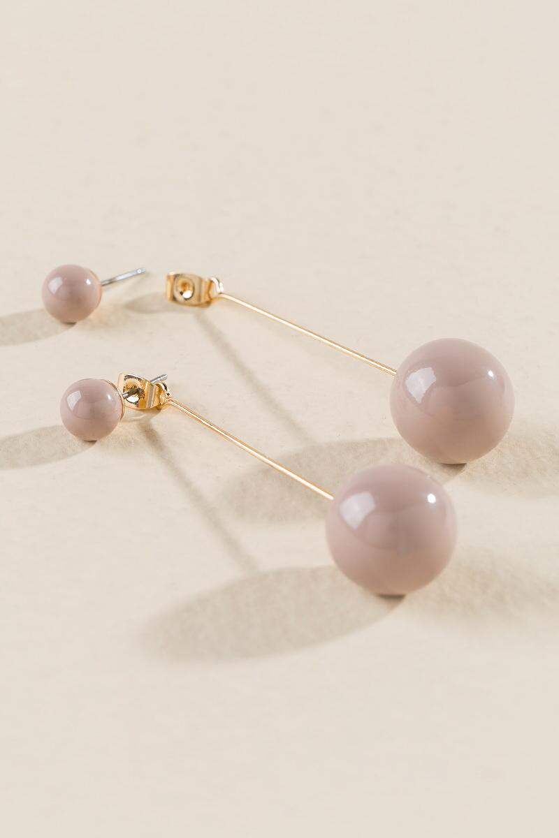 Karla Linear Ball Drop Earrings-  mauv-clalternate