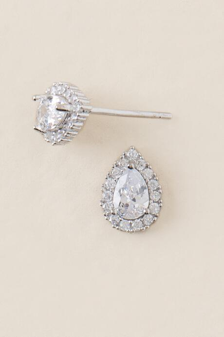 Elva Cubic Zirconia Teardrop Stud Earrings
