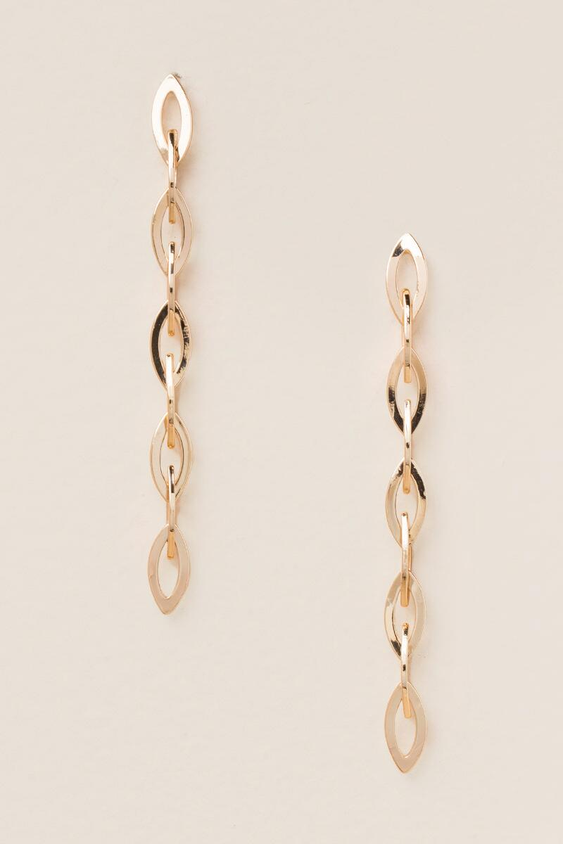 Arden Linked Chain Linear Earrings-  gold-cl
