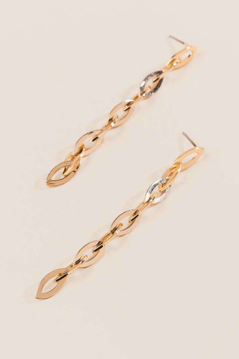 Arden Linked Chain Linear Earrings-  gold-clalternate