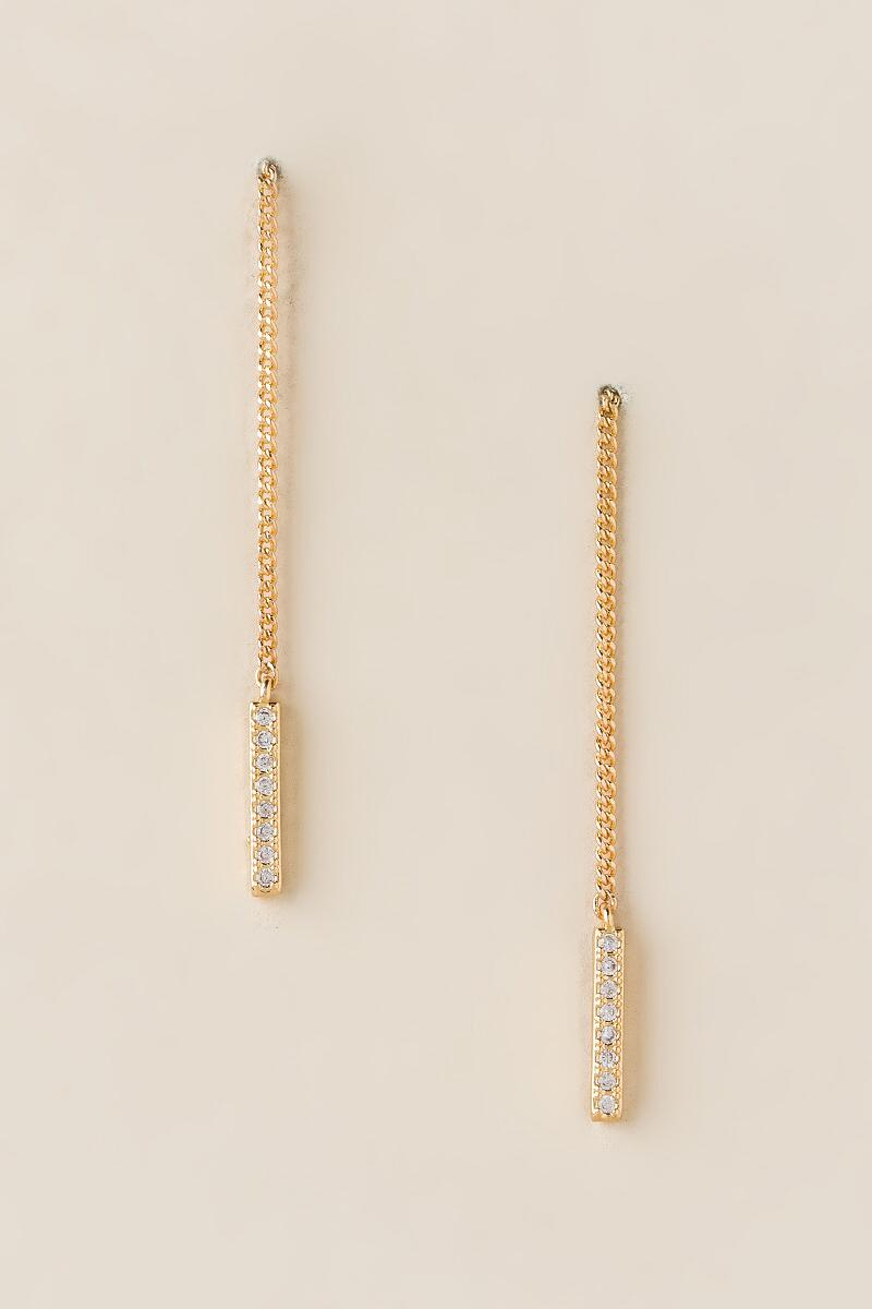 Jennie Linear Chain Drop Earrings-  gold-cl