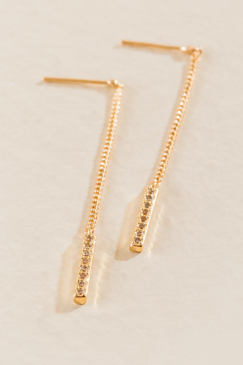 Jennie Linear Chain Drop Earrings-  gold-clalternate