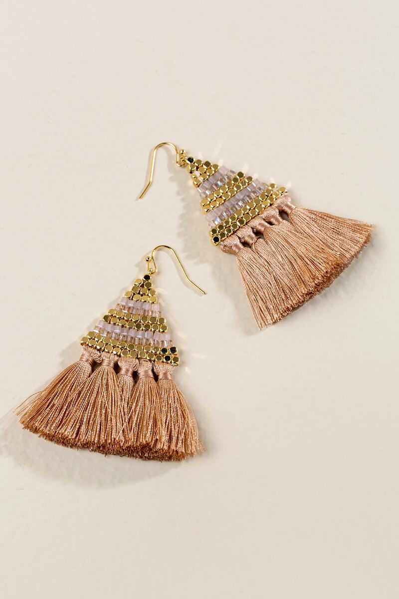 Bristol Tassel Earrings in Champagne-  cham-clalternate