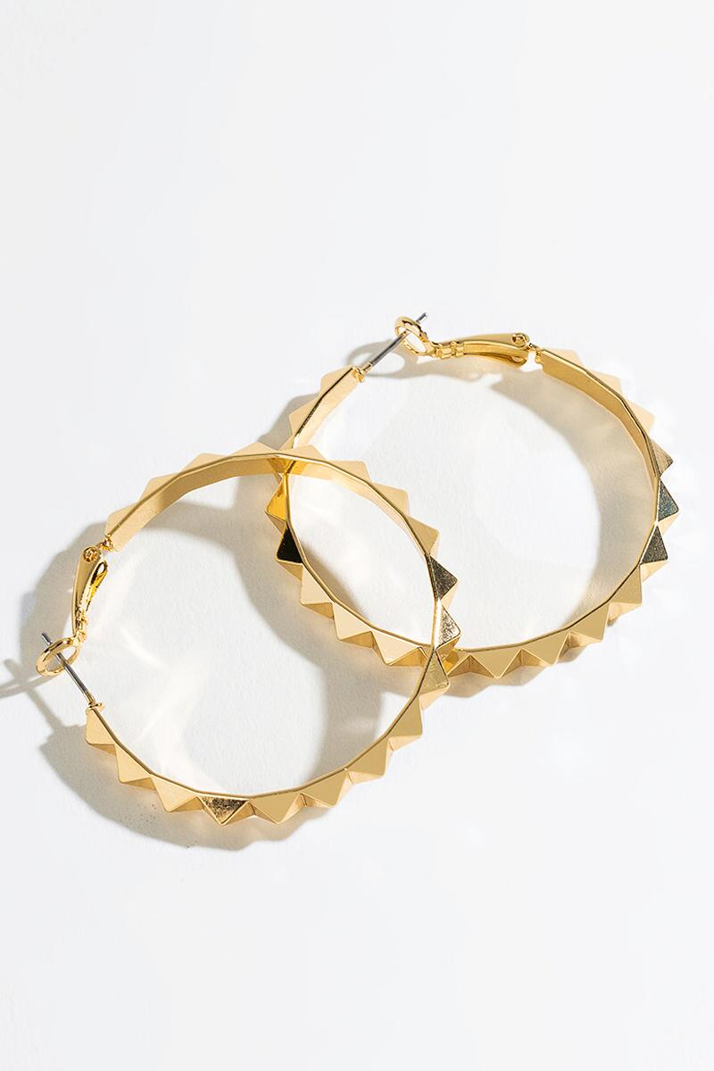 Sophia Hexagon Border Huggie Hoops