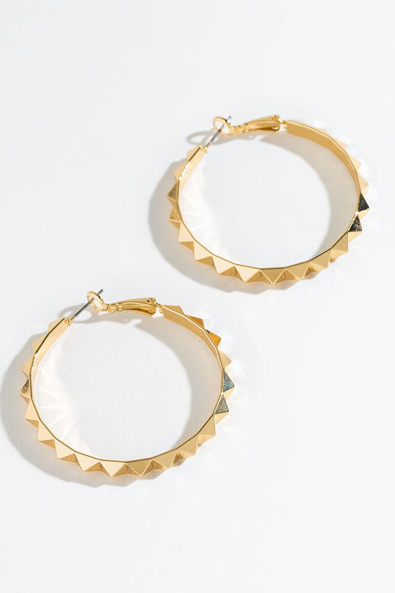 Sophia Hexagon Border Huggie Hoops-  gold-cl3