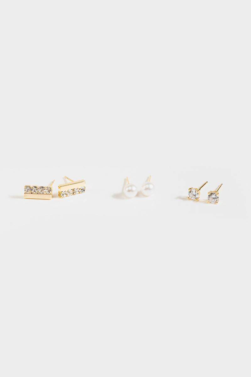 Haley Pearl Crystal Stud Set- Gold