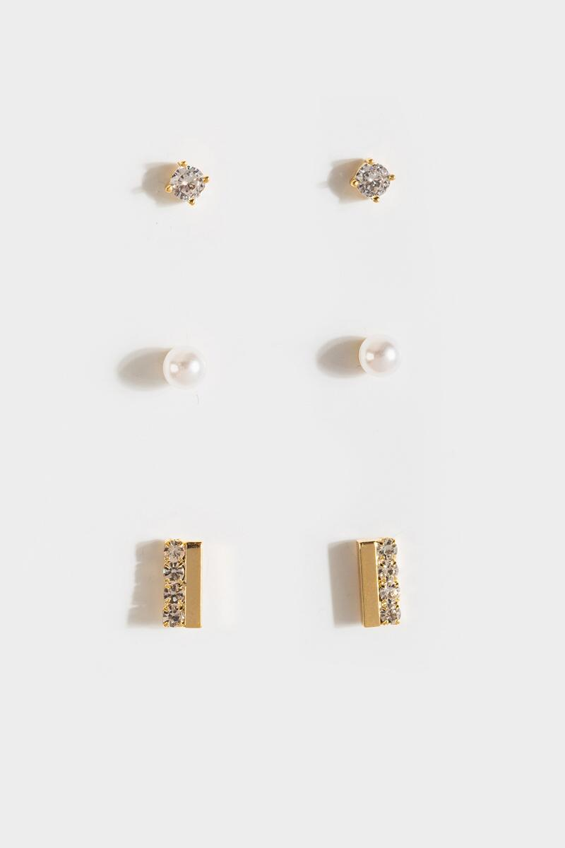 Haley Pearl Crystal Stud Set- Gold 3