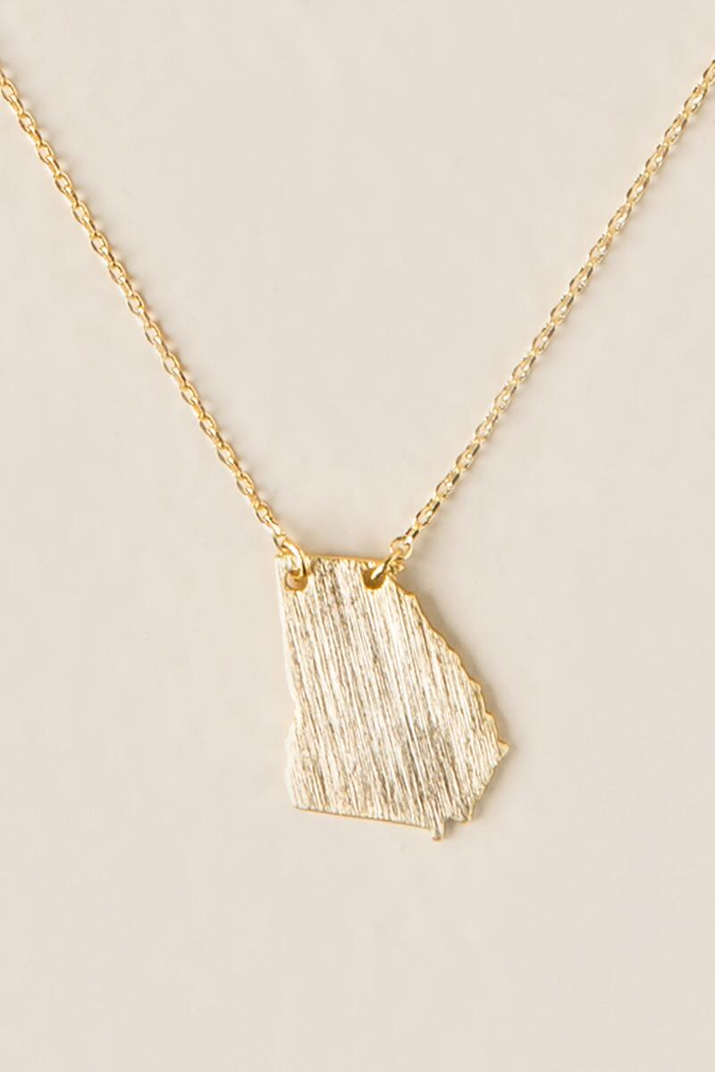Georgia State Pendant Necklace-  gold-cl