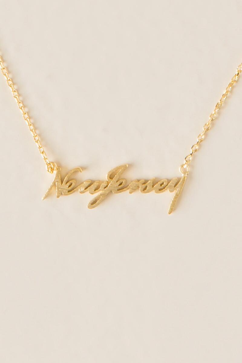 New Jersey Script Pendant Necklace-  gold-cl