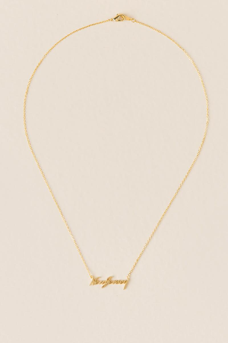 New Jersey Script Pendant Necklace-  gold-clalternate