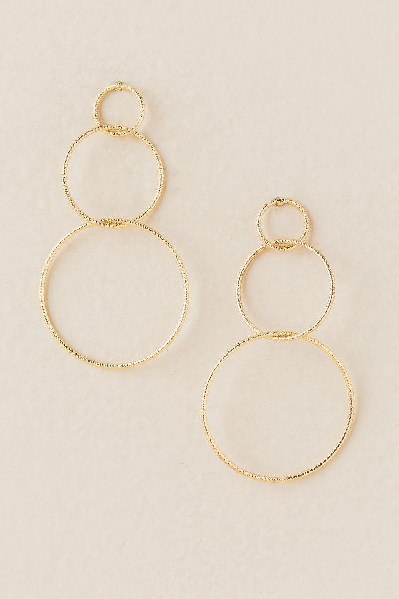 Amargo Interlocking Circle Drop Earring-  gold-cl