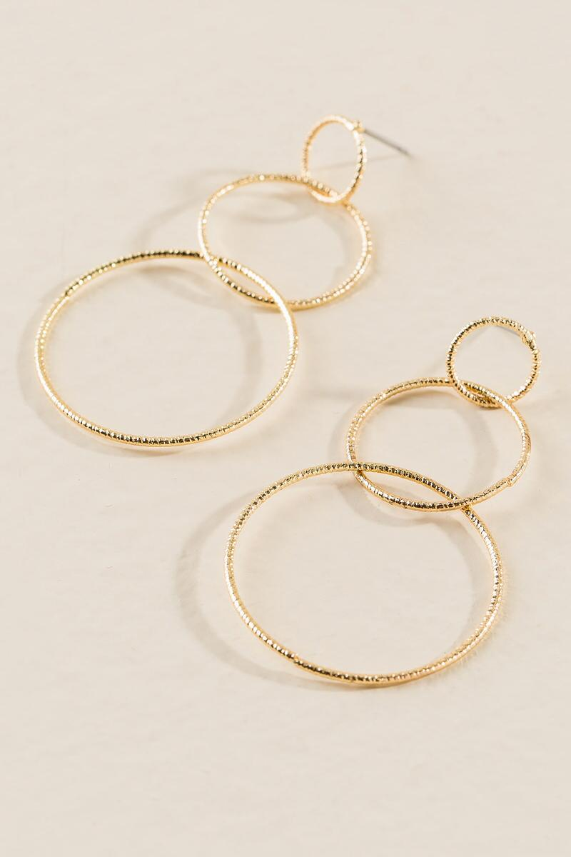 Amargo Interlocking Circle Drop Earring-  gold-clalternate