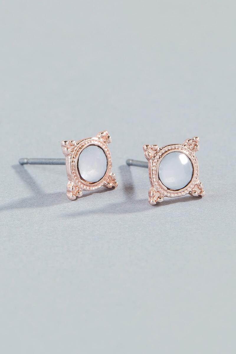 Sammy Faceted Stone Studs- White