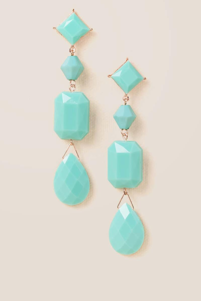 Serena Linear Beaded Earrings in Mint