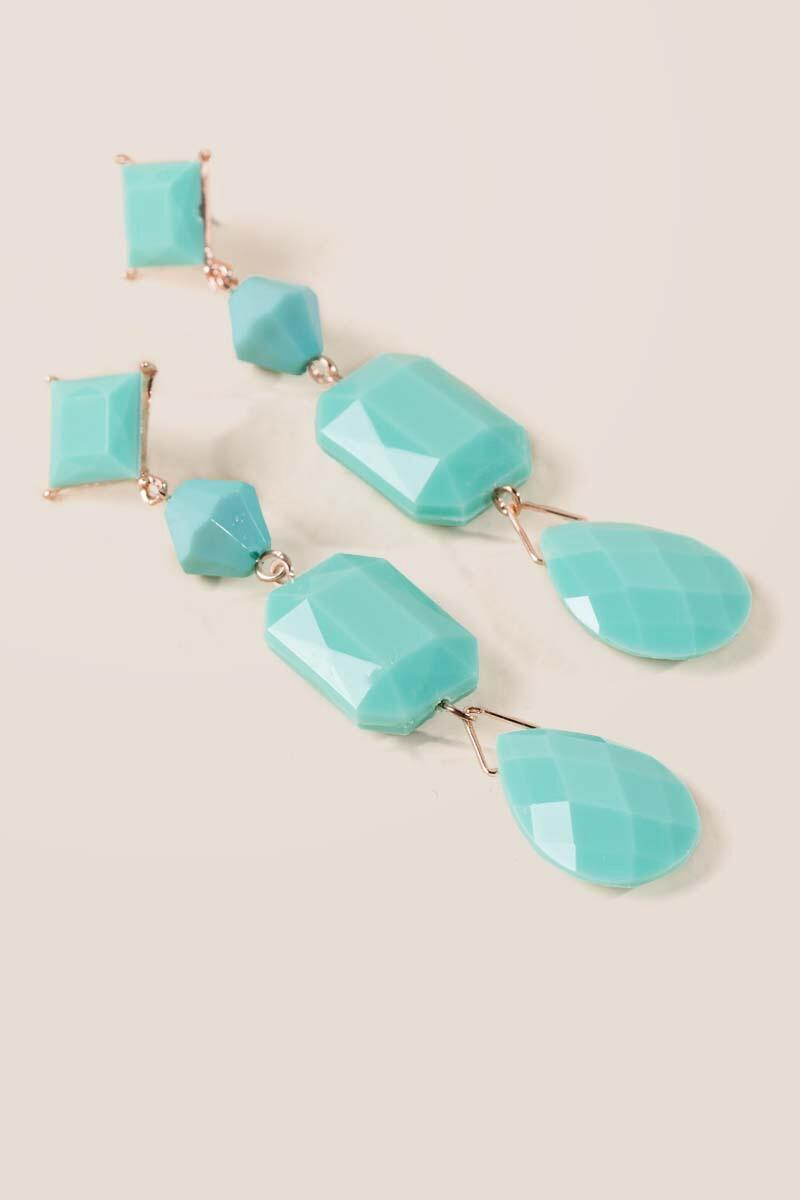 Serena Linear Beaded Earrings in Mint-  mint-clalternate