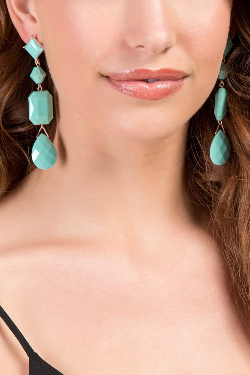 Serena Linear Beaded Earrings in Mint-  mint-clmodel