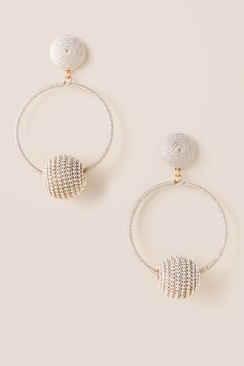 Arabelle Pearl Bauble Hoop Earrings