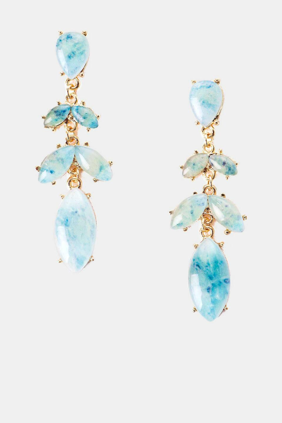 San Luis Jeweled Chandelier Earrings-  ltblu-cl
