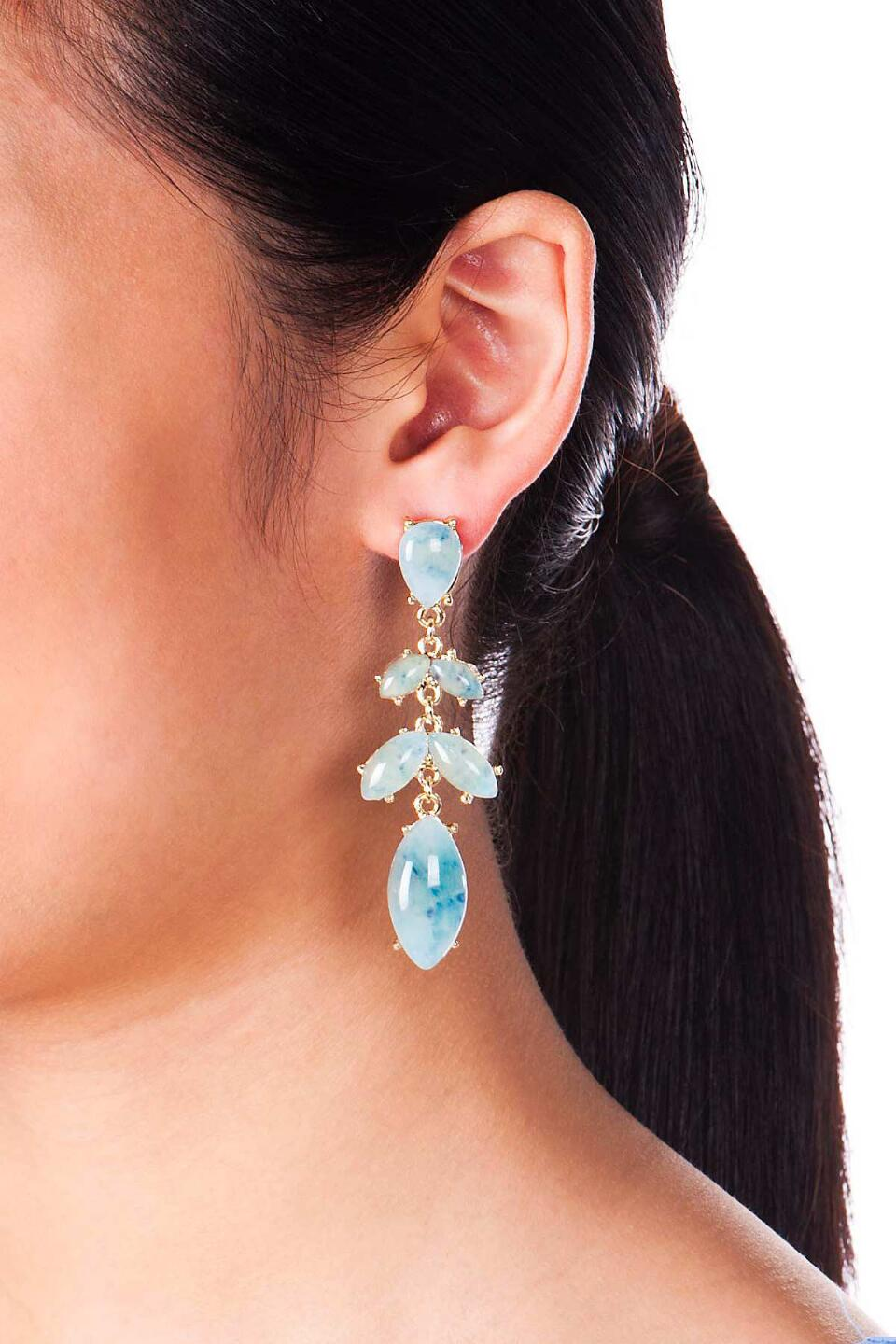 San Luis Jeweled Chandelier Earrings-  ltblu-clmodel