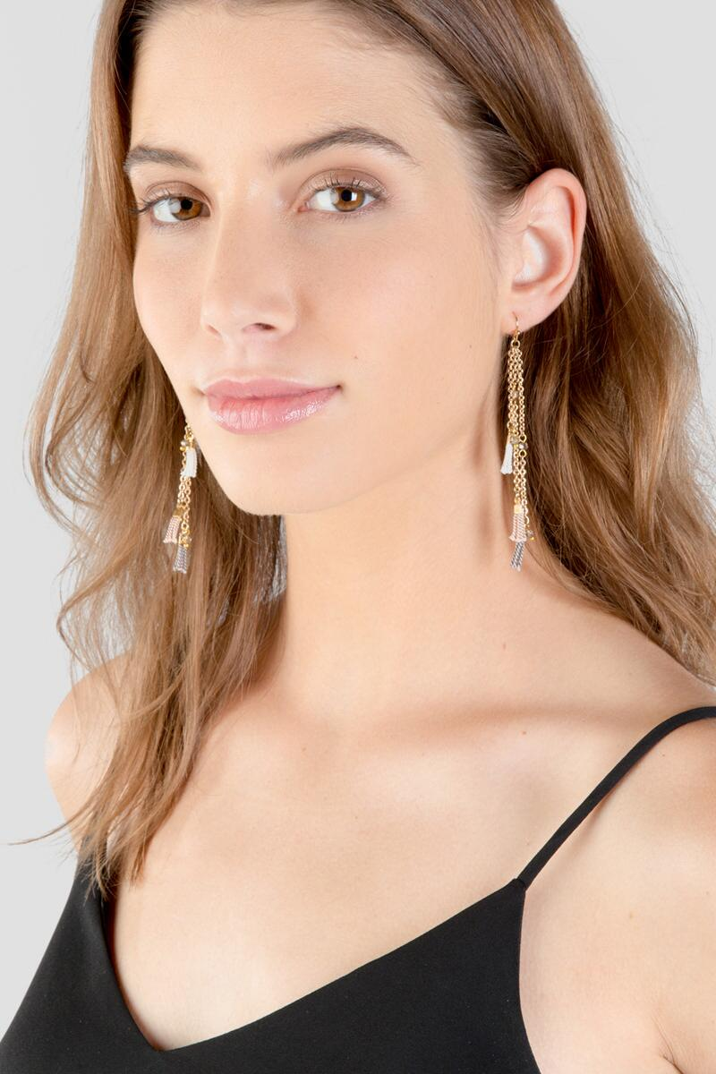 Amabel Layered Drop Earrings-  cham-clmodel