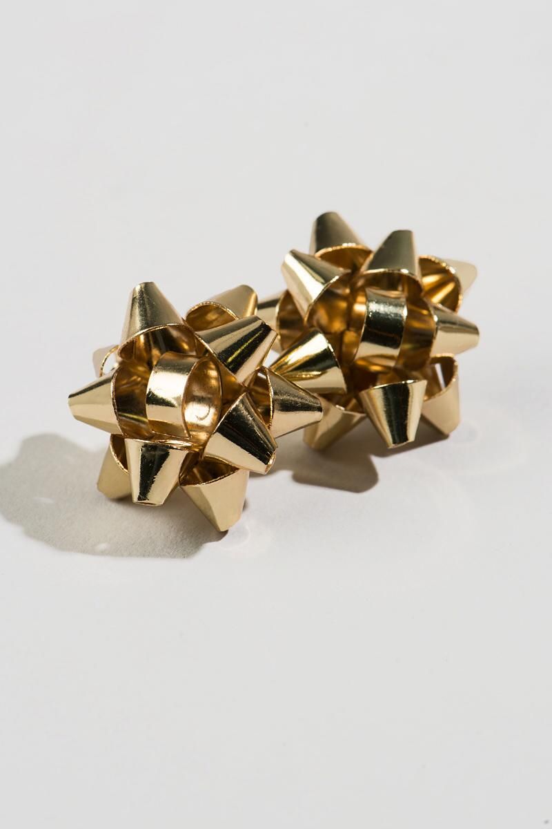 Christmas Bow Studs in Gold-  gold-cl