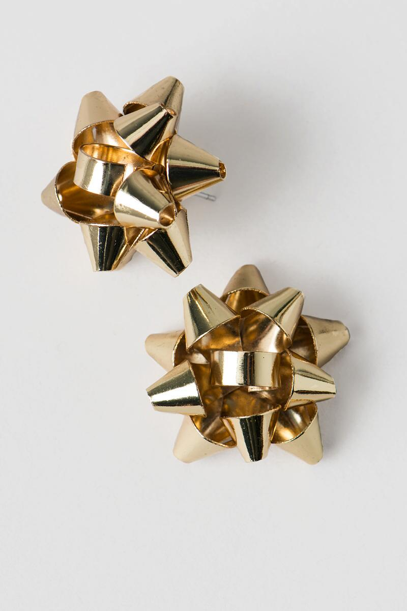 Christmas Bow Studs in Gold-  gold-clalternate