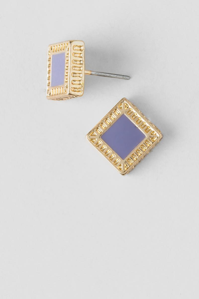 Josephine Epoxy Square Stud Earrings-  lav-cl