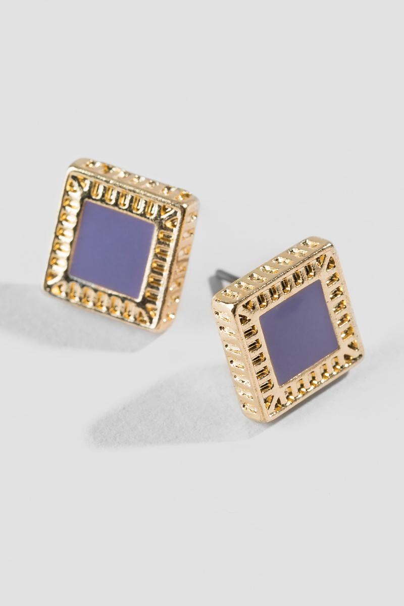 Josephine Epoxy Square Stud Earrings-  lav-clalternate