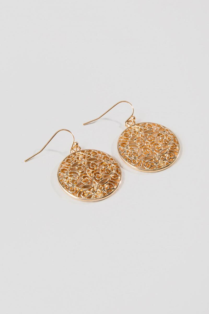 Mina Gold Filigree Dangle Earrings