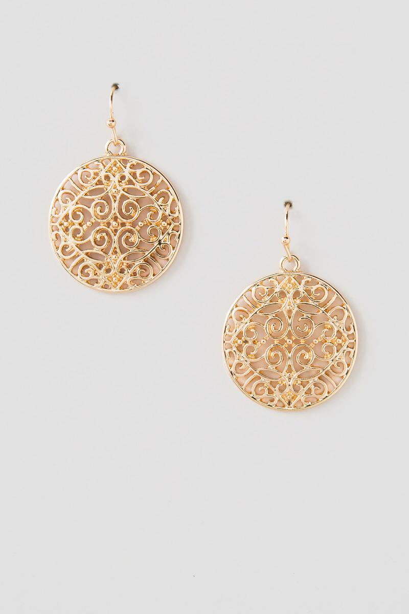 Mina Gold Filigree Dangle Earrings-  gold-clalternate