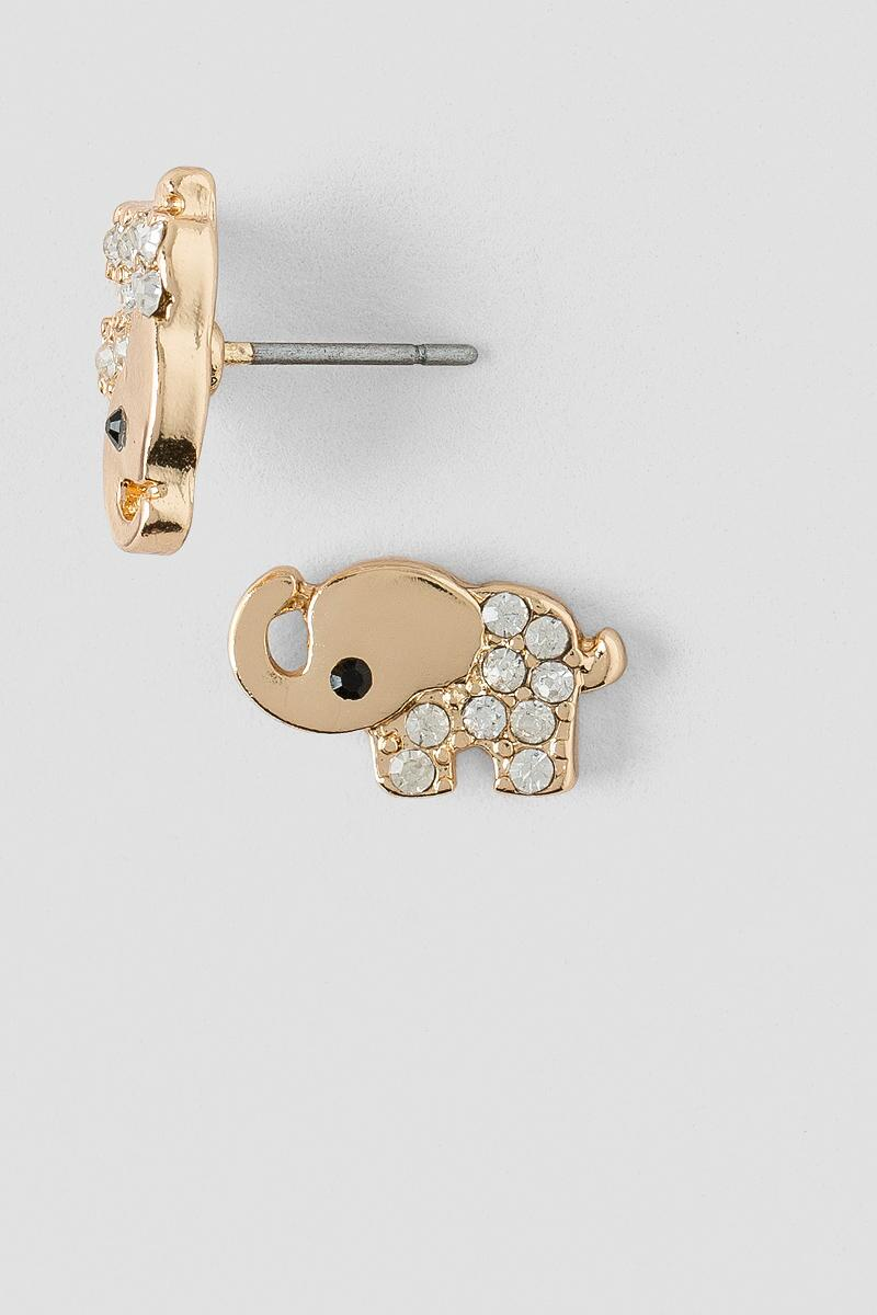 Pavè Elephant Stud Earrings