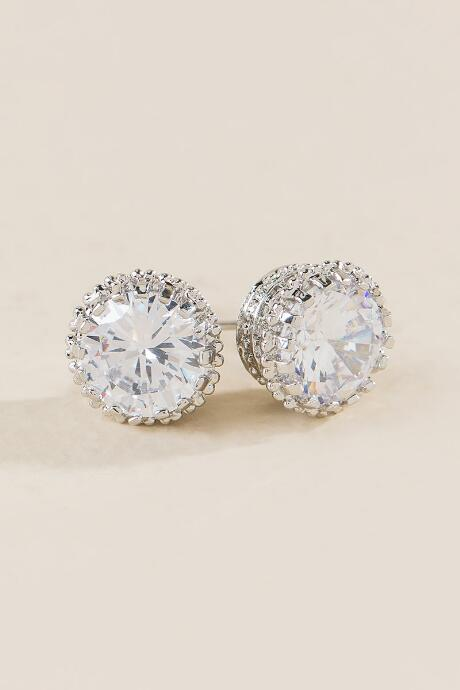 Beatrice Cubic Zirconia Stud Earrings in Silver