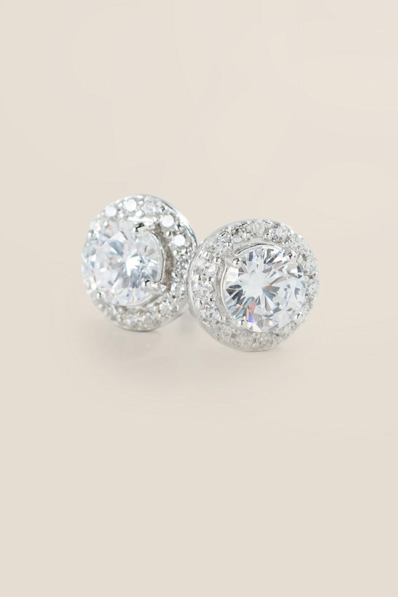 Tina Sterling Silver Crystal Studs- Silver alternate
