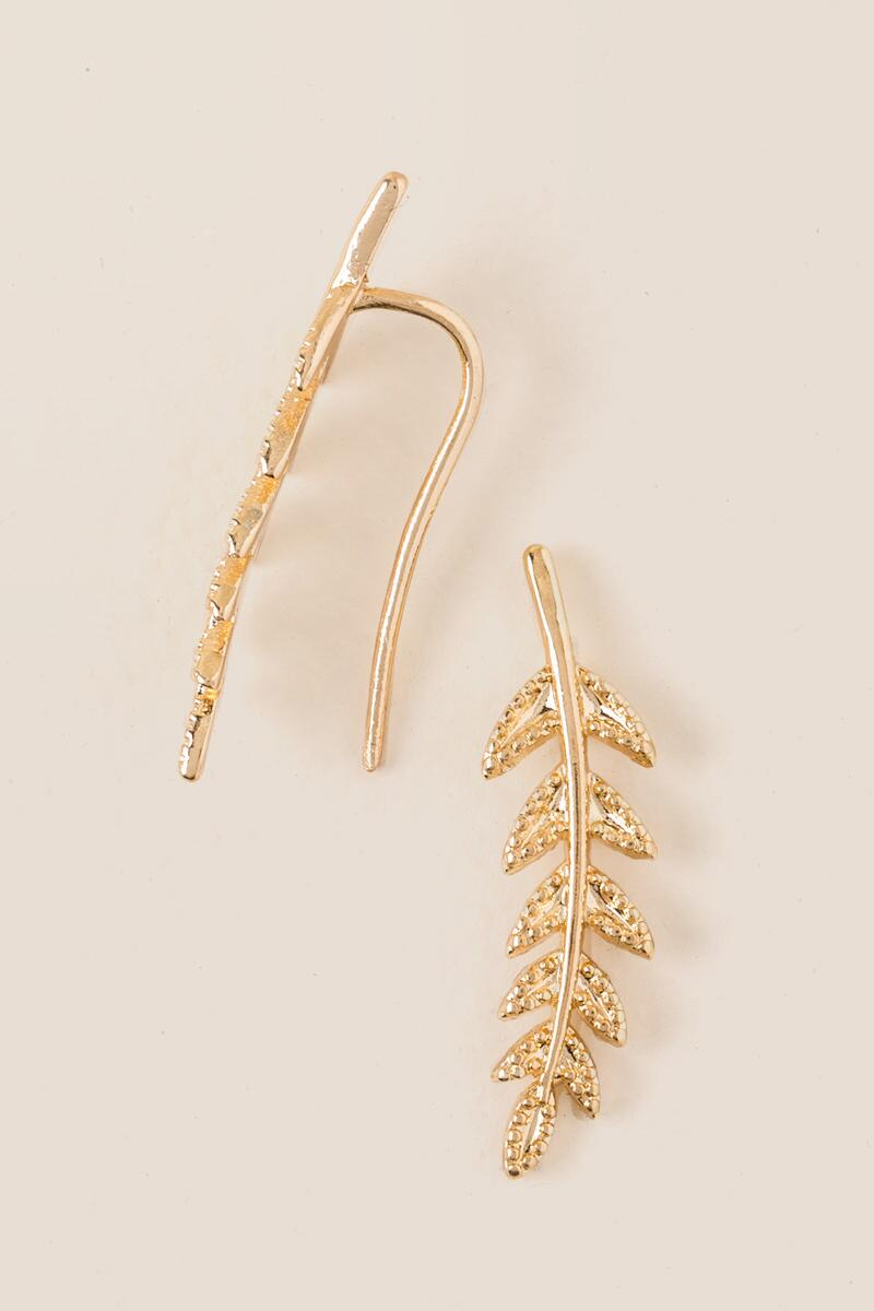 Leaf Branch Ear Crawlers-  gold-cl