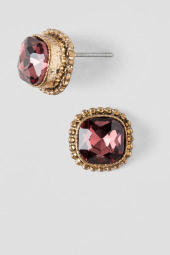 Haisley Square Set Up Stud Earrings in Berry