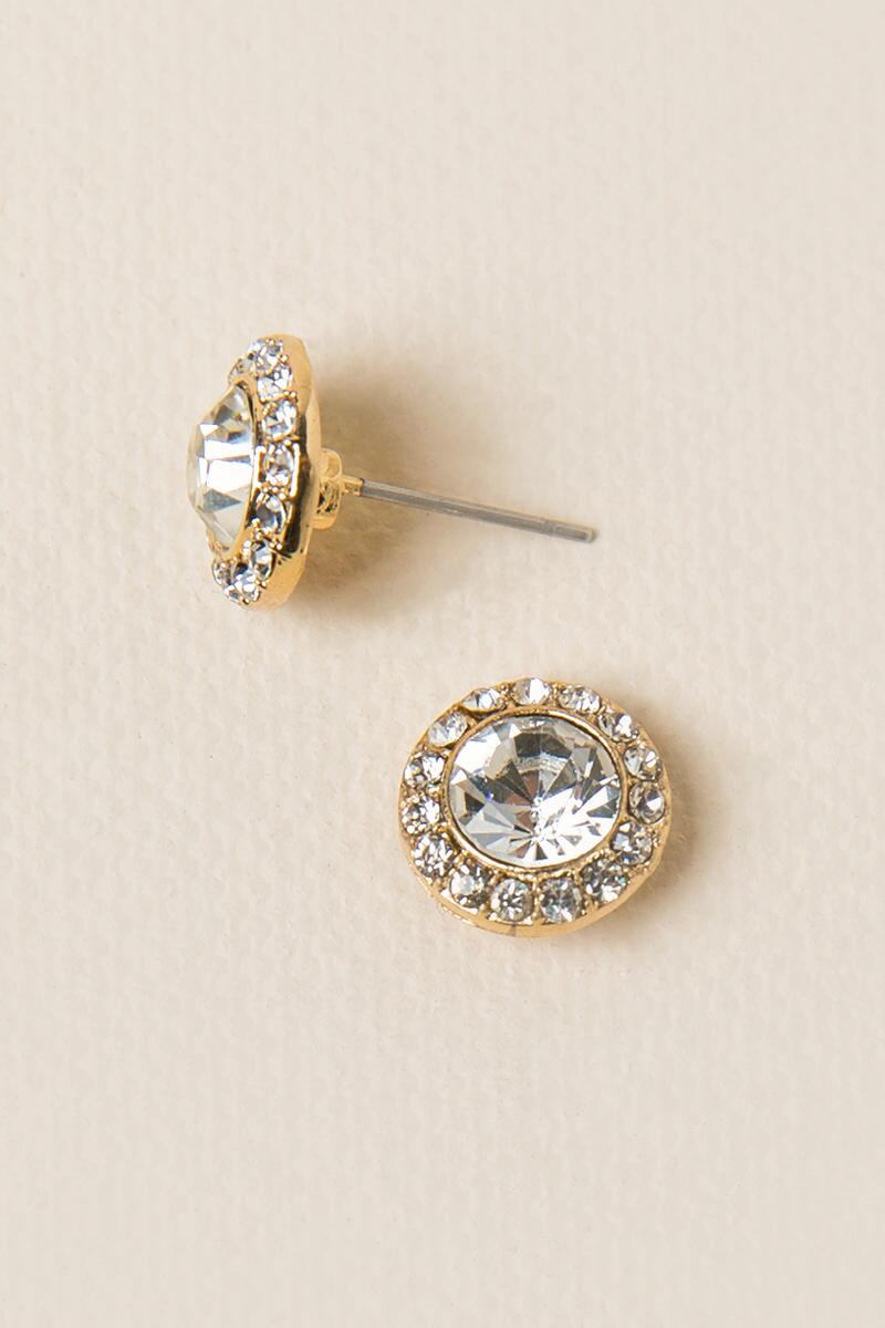 Yosephina Circle Stud Earrings in Gold