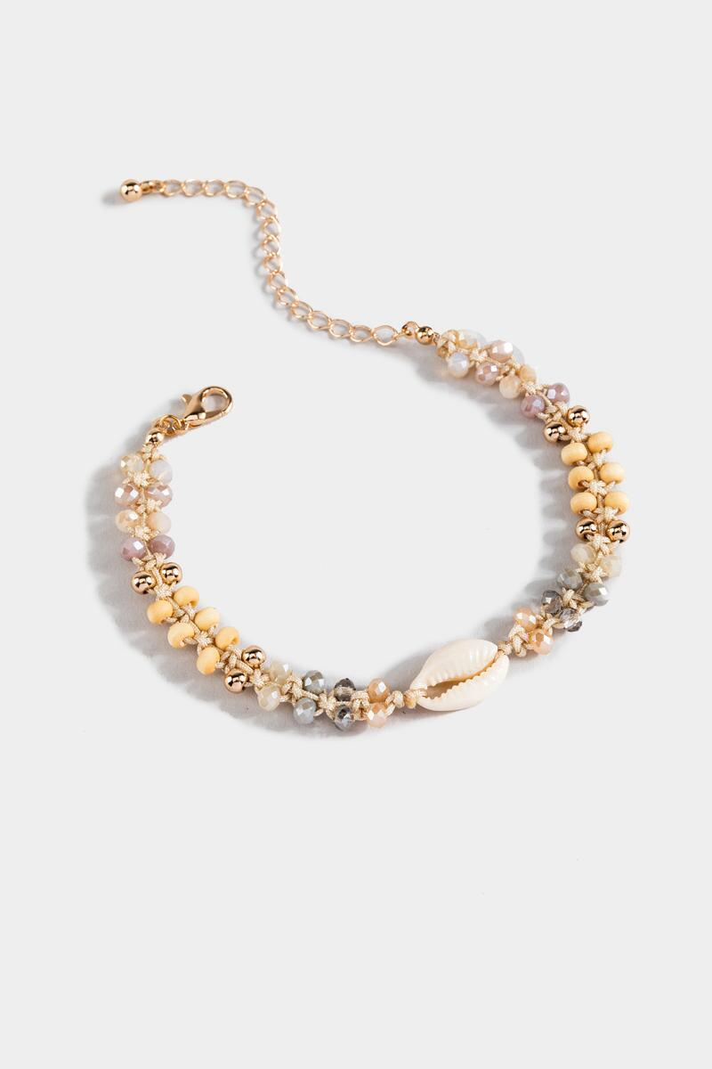 Jaylee Cowrie Shell Beaded Anklet-  ivry-cl