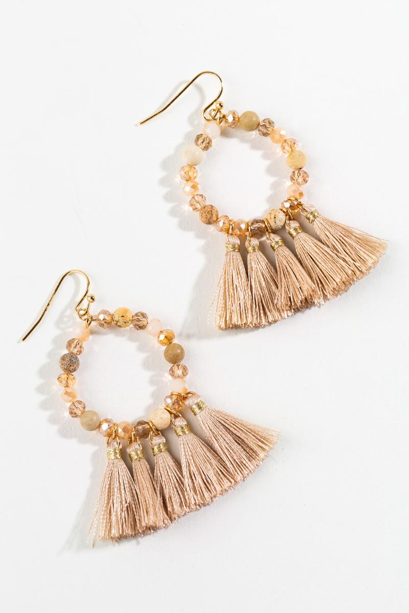 Colette Beaded Tassel Earrings-  taup-cl