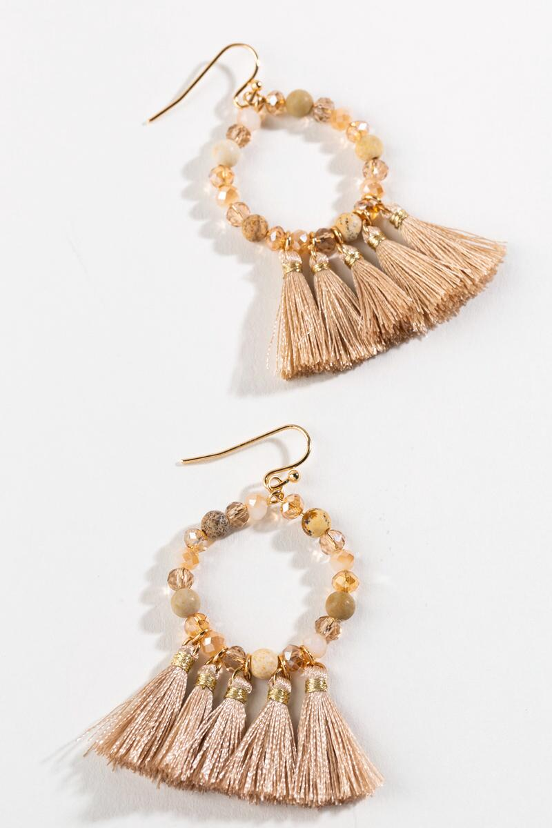 Colette Beaded Tassel Earrings-  taup-cl3
