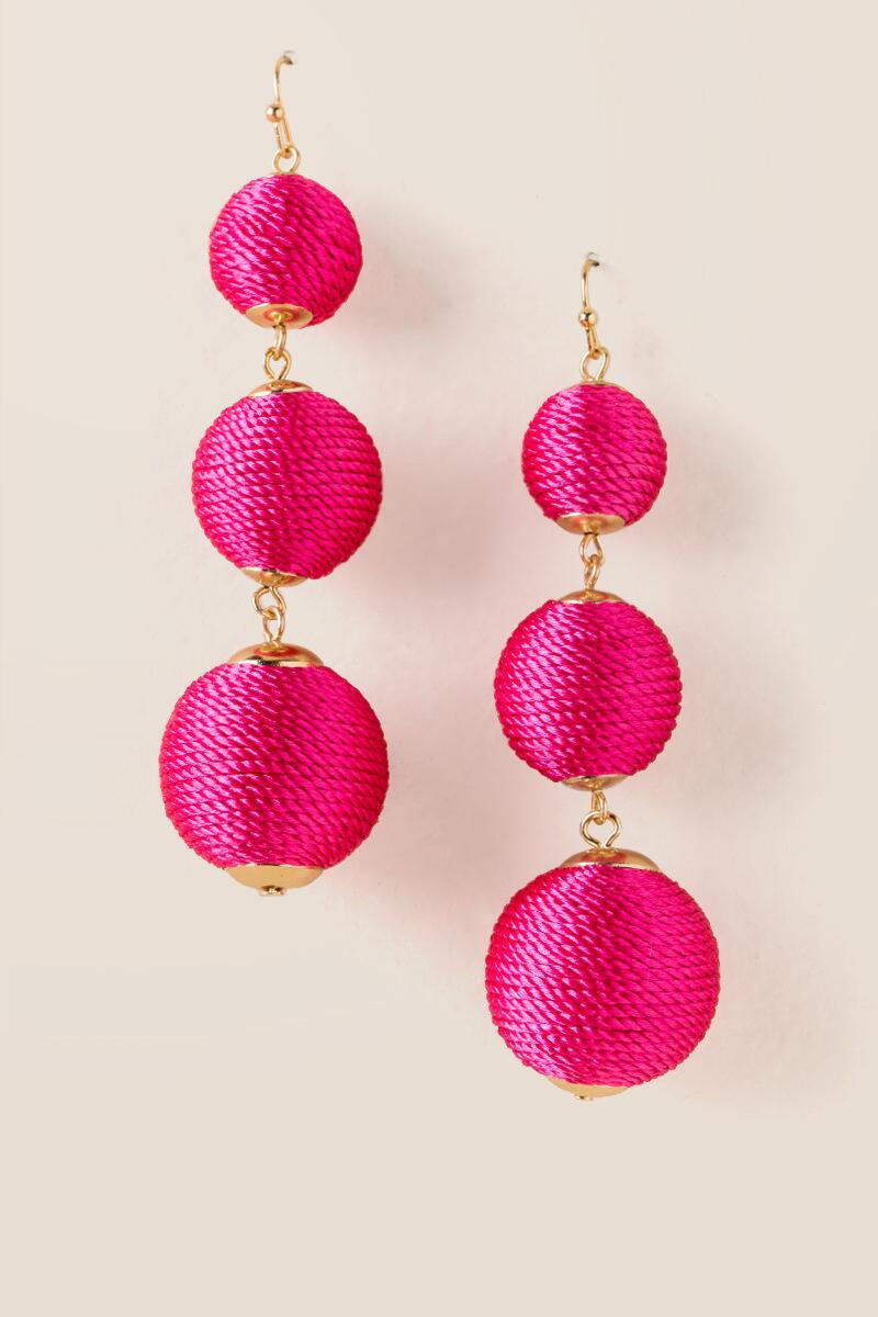 statement silver tassel product and earrings lual pink galaxy neon