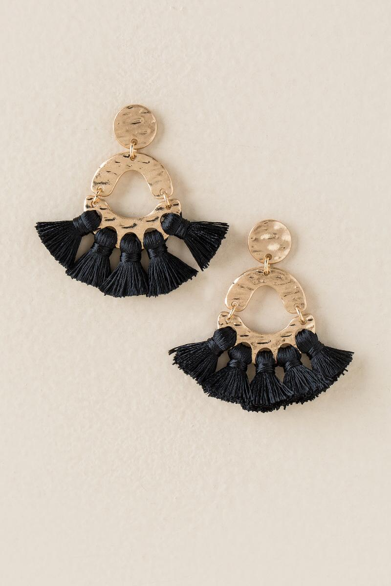 Marrieta Tassel Drop Earring In Black