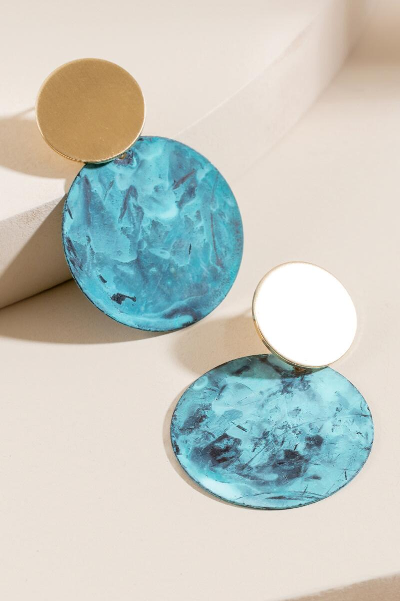 Camille Circle Drop Earrings- Turquoise