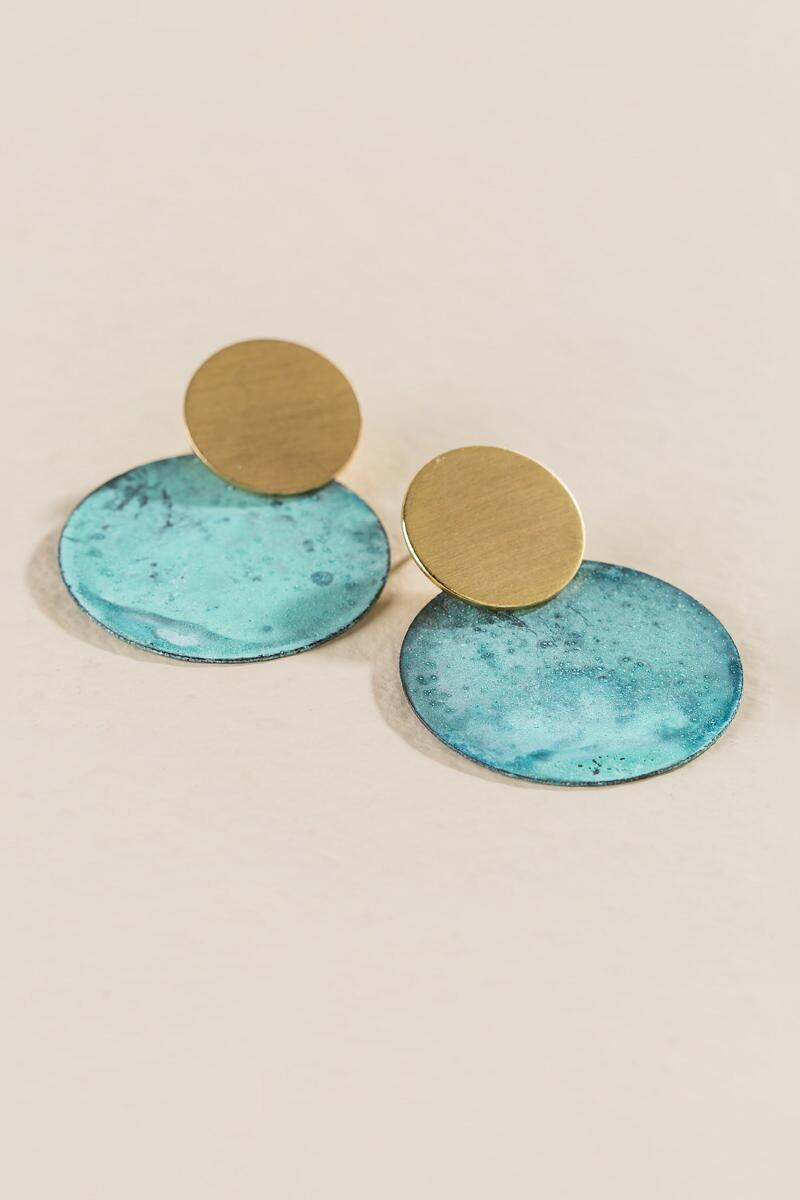 Camille Circle Drop Earrings- Turquoise alternate